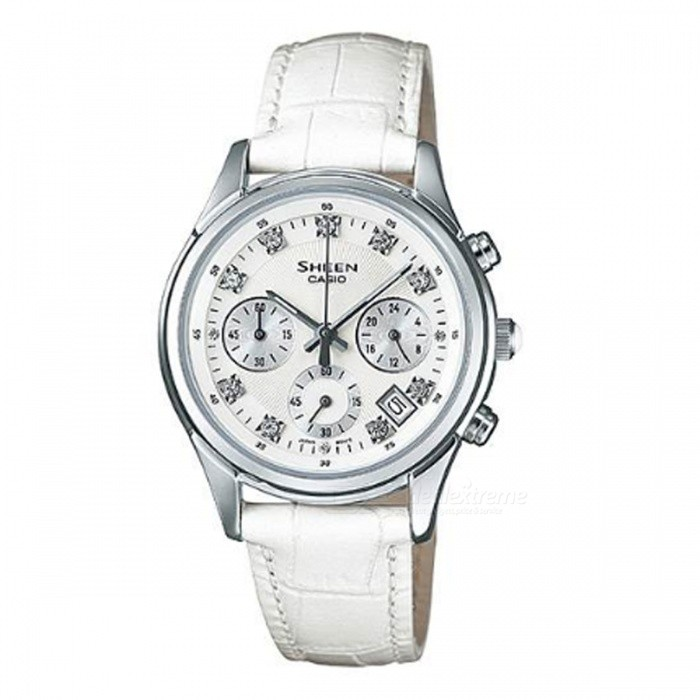Casio SHE-5023L-7A Sheen Swarovski Elements Series Watch - WhiteWomens Dress Watches<br>ColorWhiteModelSHE-5023L-7AQuantity1 pieceShade Of ColorWhiteCasing MaterialStainless steelWristband MaterialGenuine LeatherGenderWomenSuitable forAdultsStyleWrist WatchTypeFashion watchesDisplayAnalogMovementQuartzDisplay Format12 hour formatWater ResistantWater Resistant 5 ATM or 50 m. Suitable for swimming, white water rafting, non-snorkeling water related work, and fishing.Dial Diameter3.85 cmDial Thickness3.2 cmBand Width0 cmWristband Length0 cmBattery1 x SR927SWPacking List1 x SHE-5023L-7A<br>