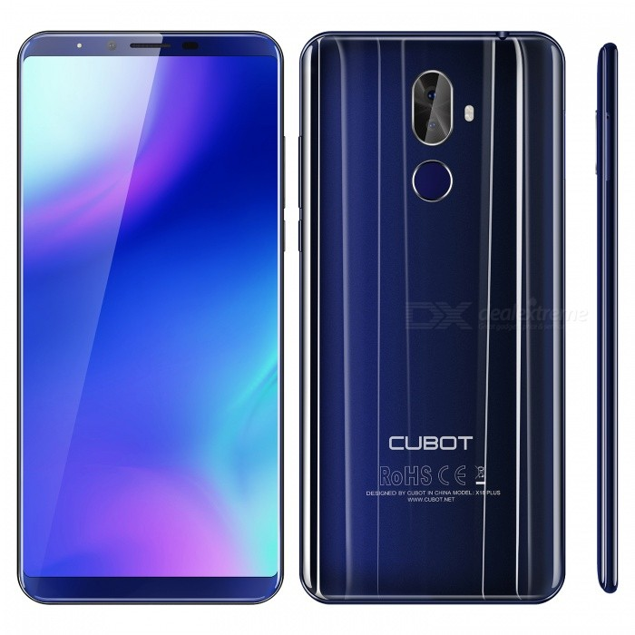 CUBOT X18 plus Android 8.0 4G 5.99 Phone with 4GB RAM, 64GB ROM - BlueAndroid Phones<br>ColorBlueRAM4GBROM64GBShade Of ColorBlueBrandCUBOTModelX18 plusQuantity1 setMaterialGlass lcd + CNC frame + Plastic badyForm  ColorBlack BlueTypeBrand NewPower AdapterEU PlugHousing Case MaterialGlass lcd + Plastic badyTime of Release2018-03-01Network Type2G,3G,4GBand Details2G:GSM 850/900/1800/1900MHz ,3G:WCDMA 900/2100MHZ, 4G: FDD-LTE: B1(2100)/ B3(1800)/ B7(2600)/ B8(900)/ B20 (800)MHzData TransferGPRS,HSDPA,EDGE,LTE,HSUPAWLAN Wi-Fi 802.11 b,g,n,Others,Wi-Fi HotspotSIM Card TypeNano SIMSIM Card Quantity2Network StandbyDual Network StandbyGPSYesBluetooth VersionBluetooth V4.0Operating SystemOthers,Android 8.0CPU ProcessorMTK 6750T ,Octa-core 1.5GHz,64bitCPU Core QuantityOcta-CoreGPUARM Mali-T860MP2LanguageJapanese,Traditional/Simplified Chinese,Bahasa Indonesia, Bahasa Melayu, Catala, Cestina, Dansk, Deutsch,English, Espanol, Filipino,France, Hrvatski, Italiano, Magyar, Nederlands, Polski, Portugues, Romana, Slovenscina, Suomi, Svenska, Vietnamese, Turkish, Greek, Bulgarian, Russian, Serbian, Ukrainian, Hebrew, Arabic, Hindi, Bengali, Thai, KoreanRAM4GBROM64GBAvailable Memory50GMemory CardSupports Micro SD / TF card up to 128GB in size (not included)Max. Expansion Supported128GBSize Range5.5 inches &amp; OverTouch Screen TypeIPSScreen ResolutionOthers,FHD+, 2160*1080 pixelsMultitouch10Screen Size ( inches)Others,5.99 inchScreen Edge2.5D Curved EdgeCamera type3 x CamerasCamera PixelOthers,Back Dual camera 16.0MP(interpolated 20.0MP+2.0MPFront Camera Pixels13 MPFlashYesAuto FocusYesTouch FocusYesOther Camera FunctionsFront camera 8.0MP camera interpolated 13.0MP<br>Rear Dual camera 16.0MP(interpolated 20.0MP+2.0MP<br> with 1A LED flashlightTalk Time360 minutesStandby Time320 hoursBattery Capacity4000 mAhBattery ModeNon-removableQuick Charge5V 2AfeaturesWi-Fi,GPS,FM,BluetoothSensorG-sensor,Proximity,Accelerometer,Fingerprint authentication sensor,Others,Light sensorWaterproof LevelOthers,N/AI/O InterfaceMicro USB,3.5mm,SIM Slot,Others,TF card slotSoftwarePlay Store, E-mail, Calculator, File manager, Clock, Calendar, Gallery, Video Player, Music, Sound Recorder, BrowserFormat SupportedAVI, MP4, 3GP, MOV, MKV, FLV, FLAC, APE, MP3, OGG, AMR, AAC, JPG, PNG, BMP, GIFRadio TunerFMOther FeaturesNotification Light: red&amp;greenReference Websites== Will this mobile phone work with a certain mobile carrier of yours? ==CertificationGMS,CE, WEEE, ROHS, MSDSPacking List1 x Phone1 x 100~240V 2-round-pin plug power adapter 1 x Data cable (90cm) 1 x English manual 1 x Protective case<br>