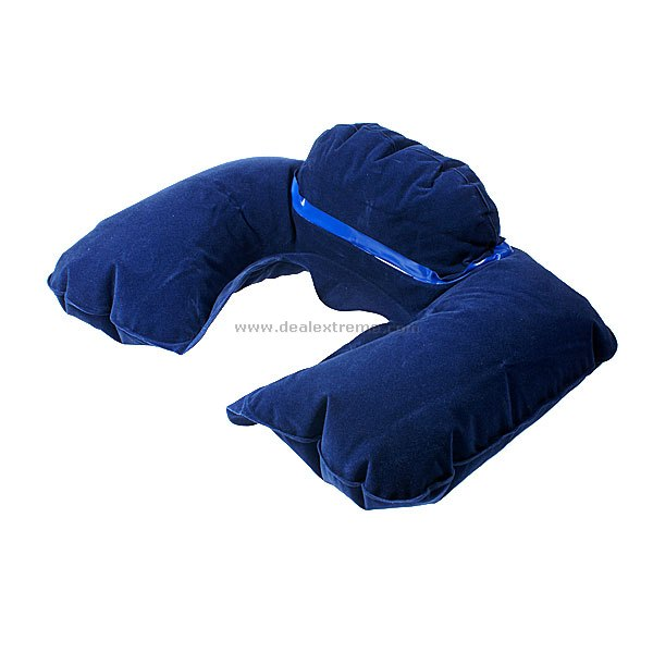 Air Inflated Neck Cushion Sleeping Pillow (Assorted Color)