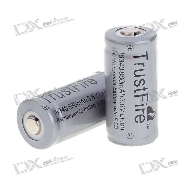 TrustFire Protected 3.6V 880mAh 16340/CR123A akut (2 kpl)