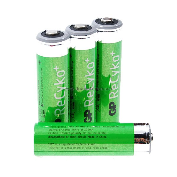 "GP ReCyko+ Rechargeable 1.2V ""2050mAh"" AA Rechargeable Batteries (4-Pack)"
