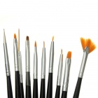 Nail Art Drawing & Painting Brush Acrylic Tip - Black + Silver