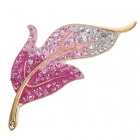 Elegant Austrian Crystal Leaf Pin Brooch (Pink)