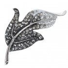 Elegant Austrian Crystal Leaf Pin Brooch (Titanium)