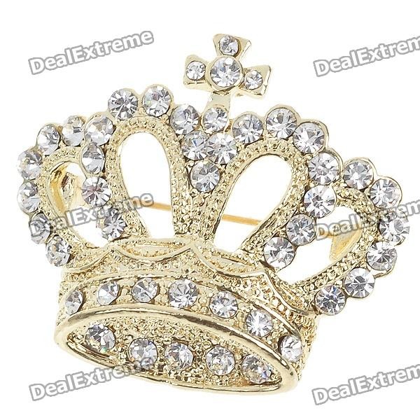 Queen Crystal Crown Pin Brooch (Yellow Gold Color)