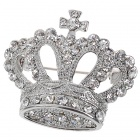 Queen Austrian Crystal Crown Pin Brooch (White Gold Color)