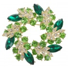 Multicolor Garland Austrian Crystal Pin Brooch (Emerald)