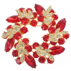 Multicolor Garland Crystal Pin Brooch (Garnet)