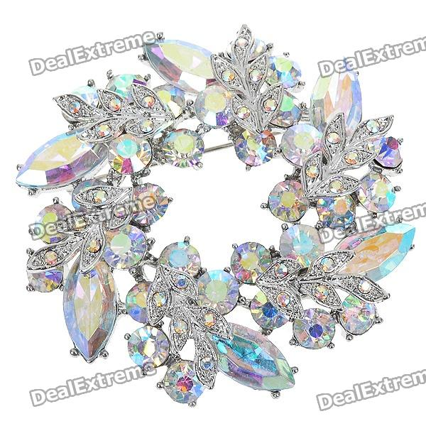 Multicolor Garland Austrian Crystal Pin Brooch (Rainbow)