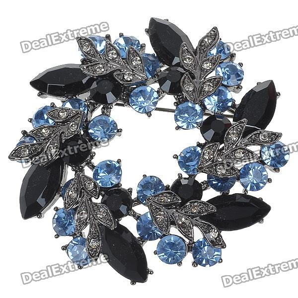 Multicolor Garland Crystal Pin Brooch (Black)