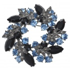 Multicolor Garland Austrian Crystal Pin Brooch (Black)