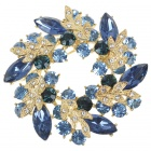 Multicolor Garland Austrian Crystal Pin Brooch (London Blue)