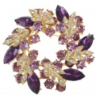 Multicolor Garland Crystal Pin Brooch (Amethyst)