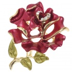 Multicolor Enamel with Austrian Crystal Rose Pin Brooch (Red)