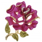 Multicolor Enamel with Crystal Rose Pin Brooch (Burgundy)
