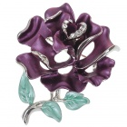 Multicolor Enamel with Crystal Rose Pin Brooch (Lavendar)