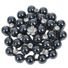 Elegant Black Pearl with Austrian Crystal Flower Pin Brooch