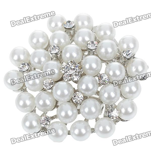 Elegant White Pearl with Austrian Crystal Flower Pin Brooch