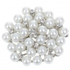 Elegant White Pearl with Crystal Flower Pin Brooch