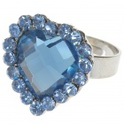 Pretty Austrian Crystal Heart Cut Ring (Baby Blue)