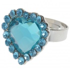 Pretty Austrian Crystal Heart Cut Ring (Swiss Blue)
