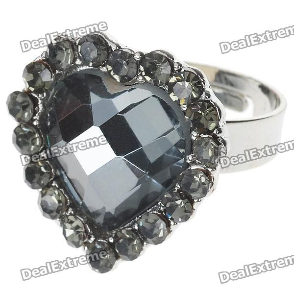 Pretty Austrian Crystal Heart Cut Ring (Black Onyx)