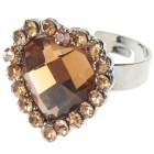 Pretty Austrian Crystal Heart Cut Ring (Smoky Quartz)