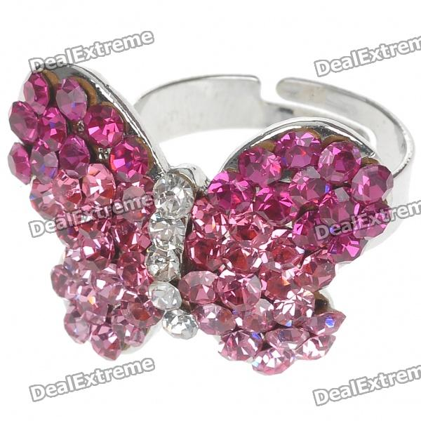 Pretty Crystal Butterfly Cut Ring (Pink)