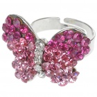 Pretty Austrian Crystal Butterfly Cut Ring (Pink)