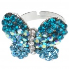 Pretty Crystal Butterfly Cut Ring (Swiss Blue)