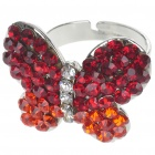 Pretty Crystal Butterfly Cut Ring (Garnet)