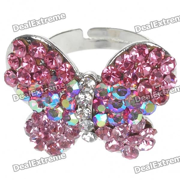 Pretty Crystal Butterfly Cut Ring (Pink Rainbow)