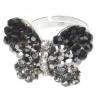 Pretty Crystal Butterfly Cut Ring (Black Onyx)