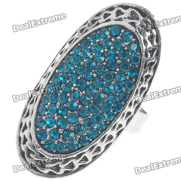 Trendy Crystal Long Ring (Swiss Blue)
