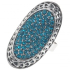 Trendy Austrian Crystal Long Ring (Swiss Blue)