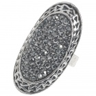 Trendy Crystal Long Ring (Titanium)