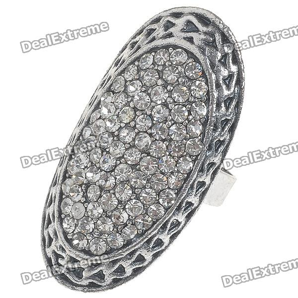 Trendy Crystal Long Ring (White Topaz)