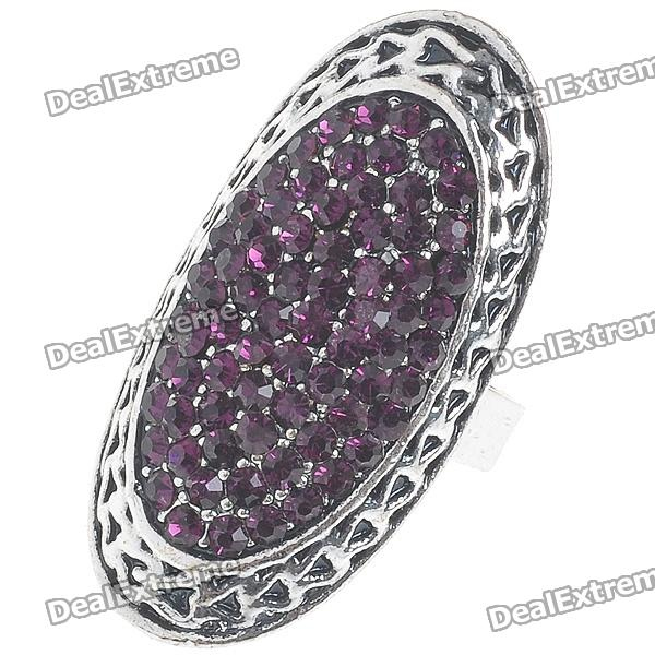 Trendy Crystal Long Ring (Amethyst) - DXRings<br>Adjustable Size (#6.5-#8) - Delicately made jewelry - Best Gift For Her<br>
