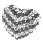 Pretty Crystal Heart Cut Ring (Black)