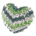 Pretty Crystal Heart Cut Ring (Green)