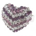 Pretty Crystal Heart Cut Ring (Amethyst)