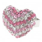 Pretty Austrian Crystal Heart Cut Ring (Pink&White)