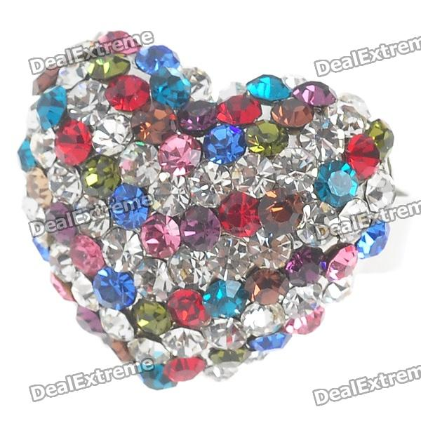 Pretty Crystal Heart Cut Ring (Multicolor)
