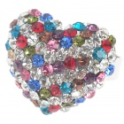 Pretty Austrian Crystal Heart Cut Ring (Multicolor)
