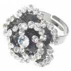 Pretty Austrian Crystal Rose Ring (White Topaz)