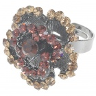 Pretty Austrian Crystal Rose Ring (Smoky Quartz)
