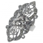 Victoria Vintage Crystal Long Ring (Titanium)