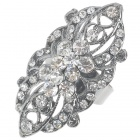 Victoria Vintage Crystal Long Ring (White)