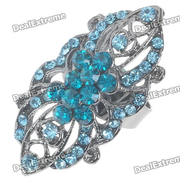 Victoria Vintage Crystal Long Ring (Blue Topaz)