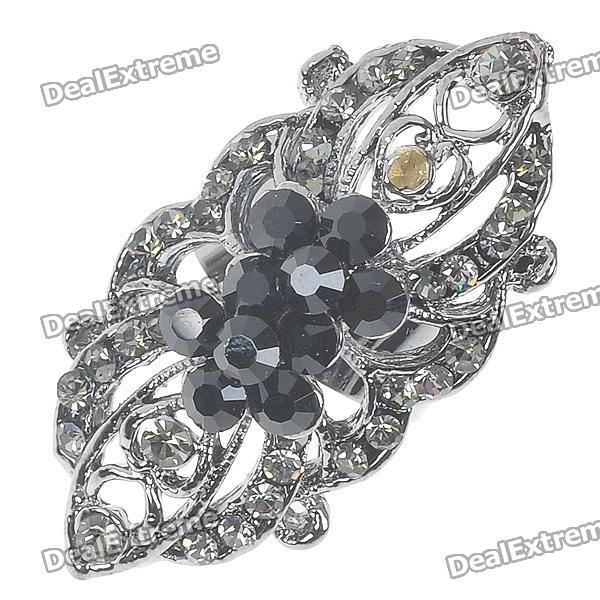 Victoria Vintage Crystal Long Ring (Black Onyx) - DXRings<br>Adjustable Size (#8-#9.5) - Delicately made jewelry - Best Gift For Her<br>